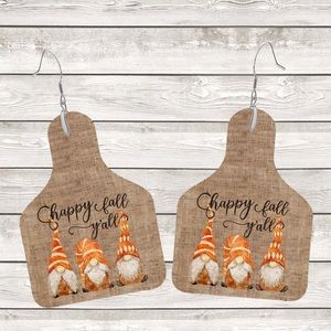 Happy Fall Ya'll on Burlap Cow Tag Earrings